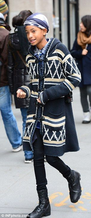 Hoping for a cameo: Jaden's sister Willow hung out to watch the progress, looking stylish in a navy cardigan and lace-up blue boots