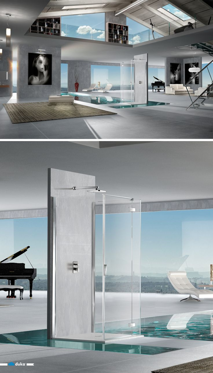 pura R 5000 • experience pure freedom thanks to this special construction shower enclosure. Three glass surfaces form a bright and weightless piece of design.