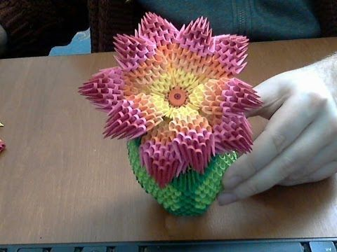 ▶ How to make 3d origami rainbow flower - YouTube