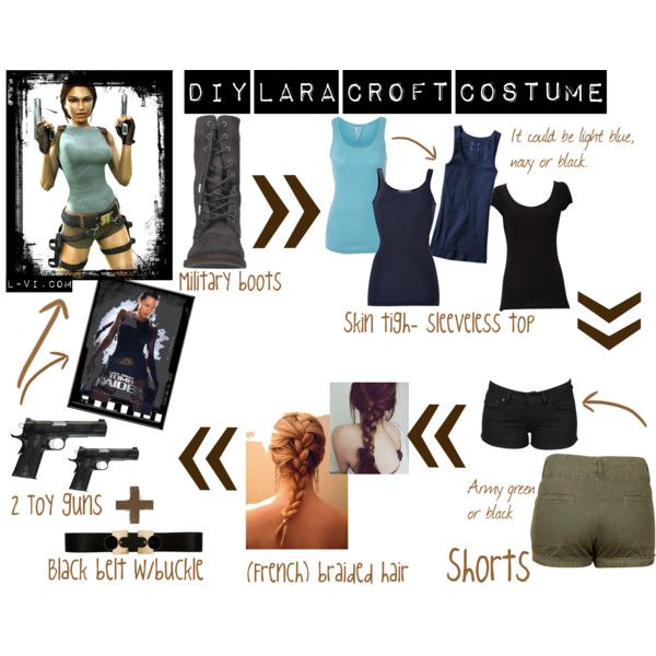 """DIY: Lara Croft costume"" by lucebuona on Polyvore"