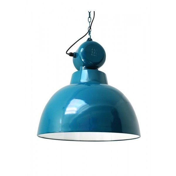 Emaliowana lampa warsztatowa Factory L HK Living - morski niebieski