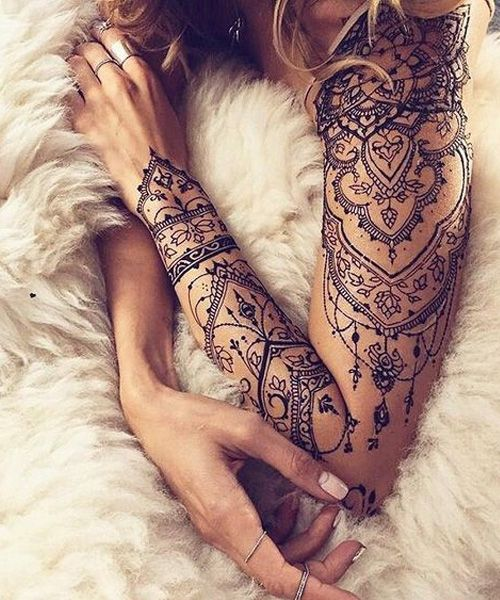 Most Demanding Full Sleeve Lace Tattoo Design for Girls