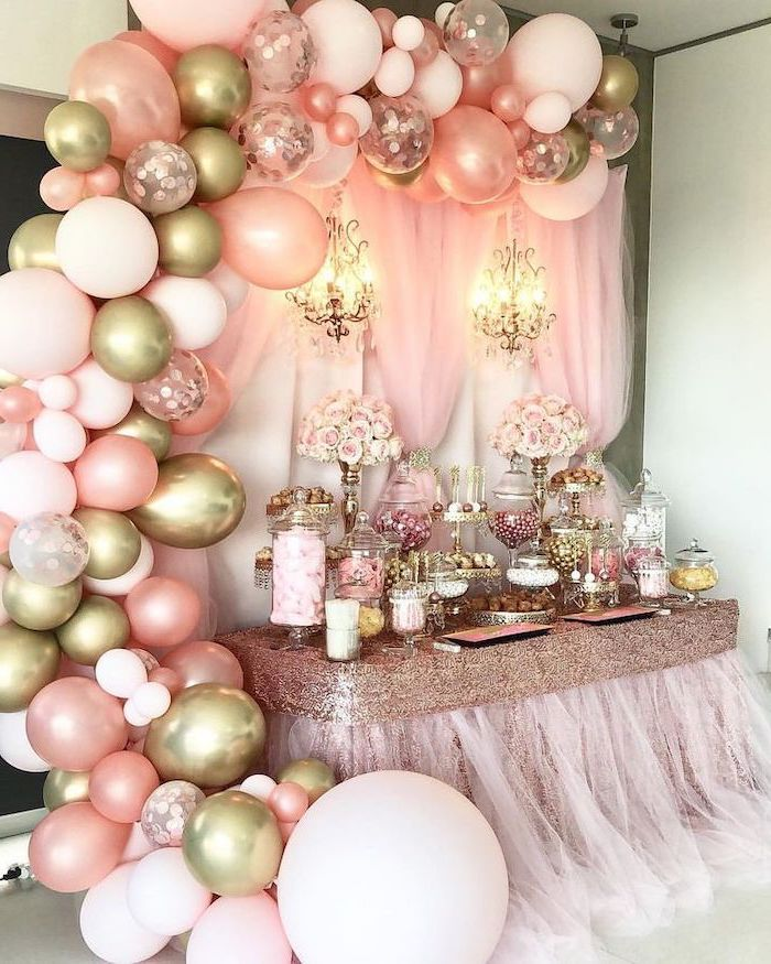 Rose Gold Baby Shower Themes Pink Tulle Rose Gold Sequins Dessert Table Roses Flower Bouquets In 2020 Rose Gold Baby Shower Baby Shower Roses Pink Gold Baby Shower