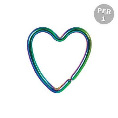 Hart oor piercing regenboog/multicolours - 1 mm - Kingsley Ryan