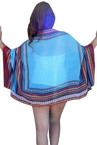 Cover Ups & Beach Robes En Mousseline De Soie Imprime Ethnique Cap Cover Up