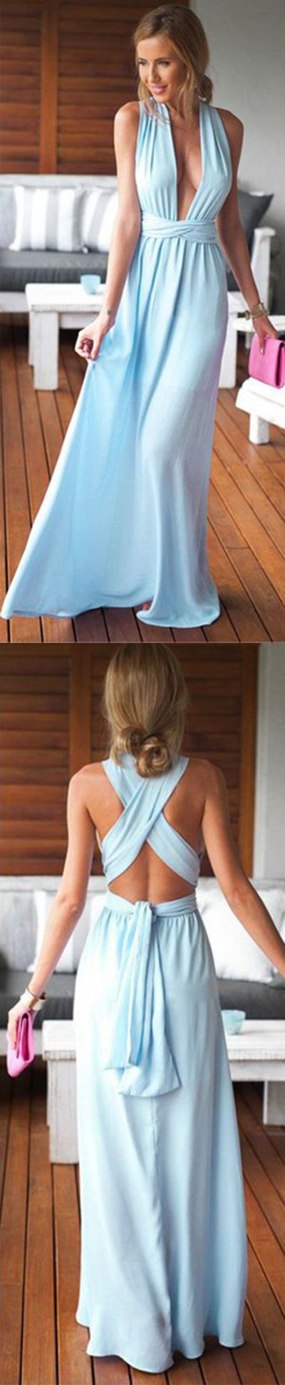 Blue A Line Floor Length Deep V Neck Sleeveless X Back Evening/Prom Dress P71   Long Prom Dresses,Cheap Prom Dress,Party Dresses,Prom Gowns,Gowns Prom,Evening Dresses,Cheap Prom Dresses,Dresses for Girls,Prom Dress UK,Prom Suit,Prom Dress Brand,Prom Dress Store, Party Dress