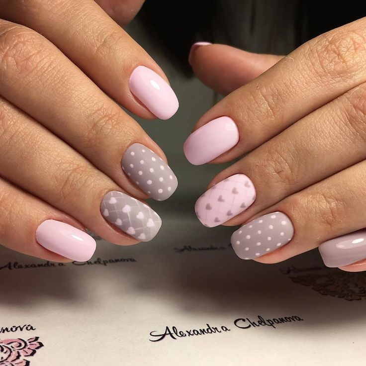 Dating nails, Grey and pink nails, Heart nail designs, Manicure on the day of lovers, Polka dot nails, Romantic nails, Two color nails, Two-color nails ideas