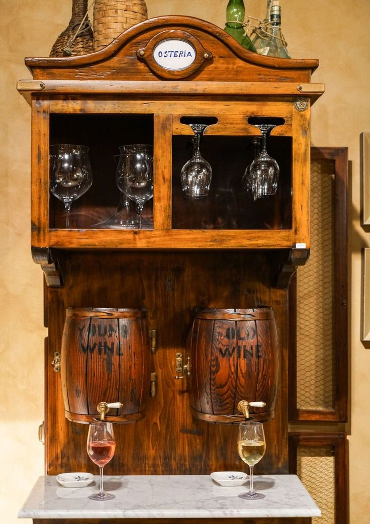 Osteria Red And Wine Machine Featuring Two Small Barrels | The Best Wood Furniture