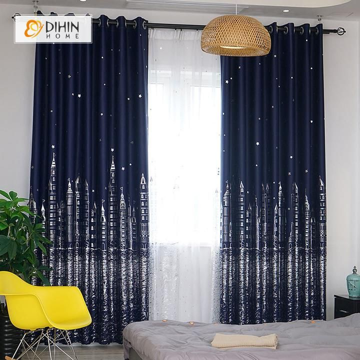 Dihin Home Silvery City Printed Blackout Grommet Window Curtain For Living Room 52x63 Inch 1 Panel Curtains Cool Curtains Curtains Living Room #nice #curtains #for #living #room