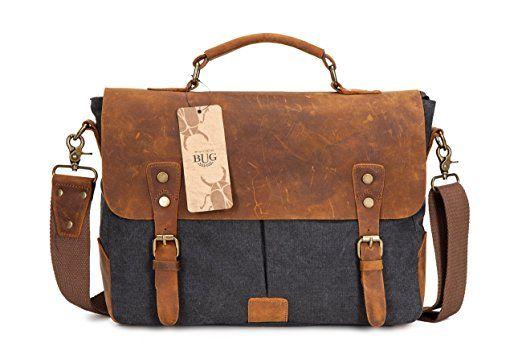 DoubleMay Herren Vintage Canvas Leder Aktentasche Messenger Bag Umhängetasche ideal für Studium Büro oder Freizeit Outdoor 37 x 10 x 27 cm (Dunkel Grau)
