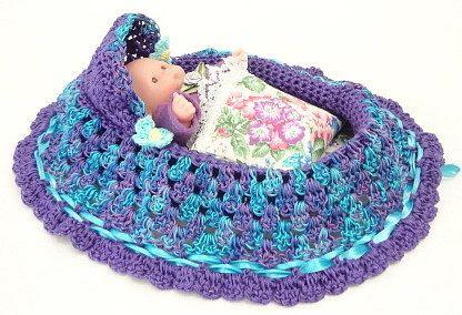 handmade crochet cradle purse travel toy church purse purple blue varigated drawstring bag BG94