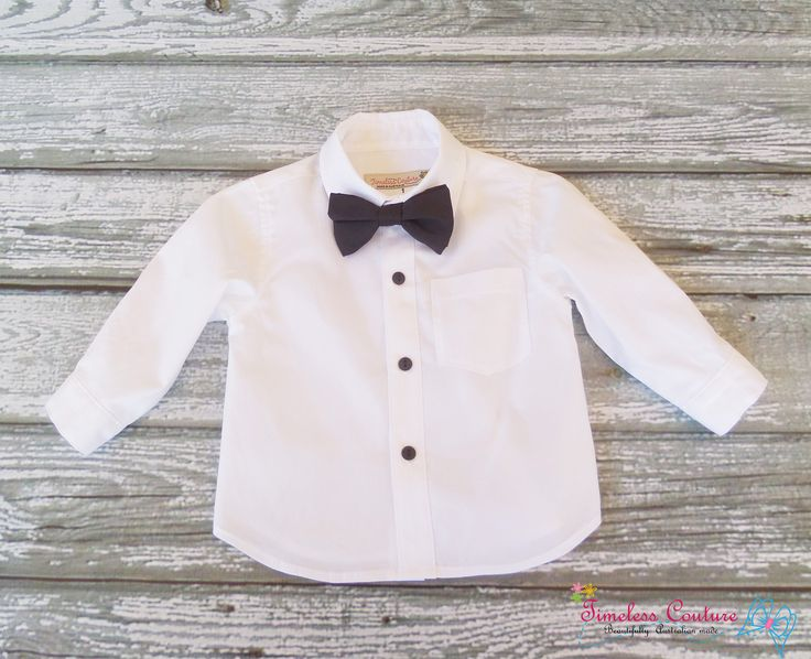 FORMAL SHIRT:  Made out of deluxe white cotton, its style is classic and with a touch of gala. Size 1,2 . SILK BOW TIE:  Children's bow tie made out of 100% silk, colour is black.  a.b.timelesscouture@gmail.com www.facebook.com/a.b.timelesscouture