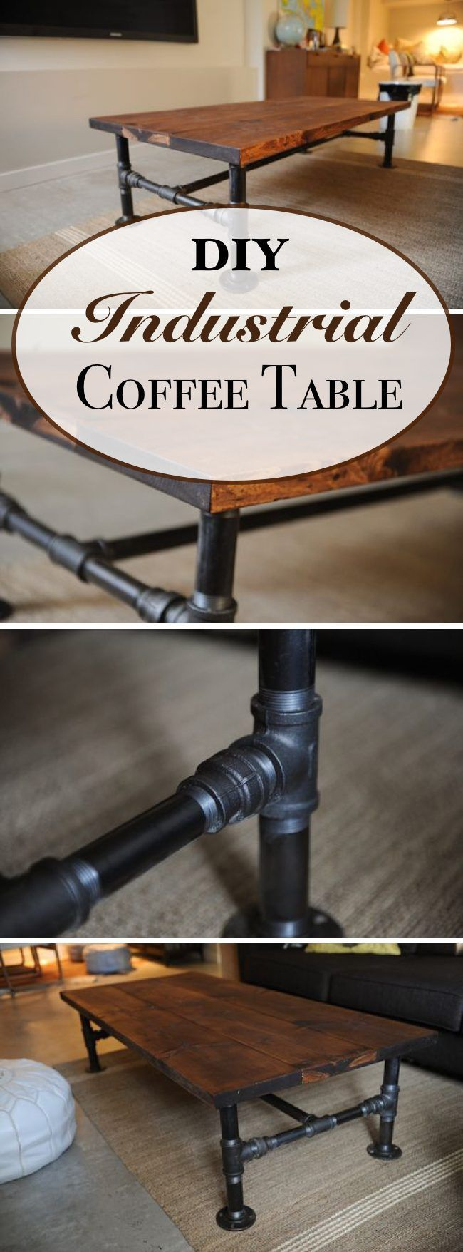 Industrial Coffee Table DIY / Build an industrial piping table that combine the rustic warmth with cold industrial elements.