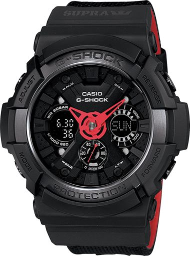 Casio G-Shock - GA200SPR-1A In commemoration of G-SHOCK's 30th anniversary, Casio partnered with leading independent footwear brand, SUPRA, to design their own signature timepiece and Vaider Lite high top. This exciting release is a groundbreaking collaborative effort that features a dynamic range of fashion forward products in celebration of G-SHOCK's rich and innovative history.
