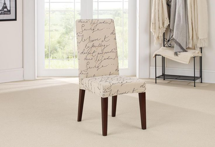 Pen Pal Short Dining Chair Slipcover, Stretch Seat Covers For Dining Room Chairs
