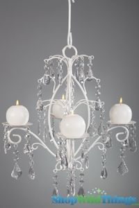 Crystal & White Hanging Candle Chandelier $43 at shopwildthings.com  Would be perfect for painting.