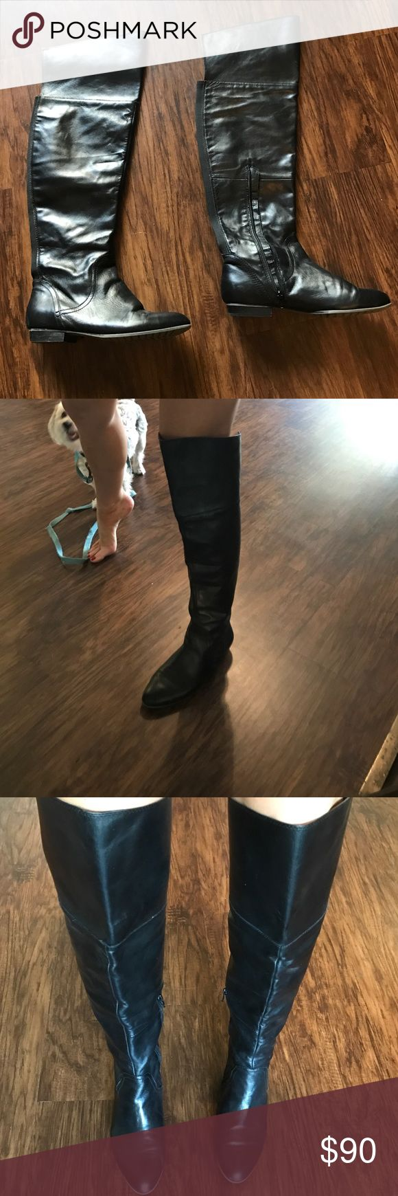 Above the knee Aldo Boots Black Leather worn but really good condition black faux leather above the knee boots from Aldo size 9 Aldo Shoes Over the Knee Boots