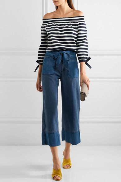 J.Crew - Off-the-shoulder Striped Cotton-jersey Top - Midnight blue - xx small