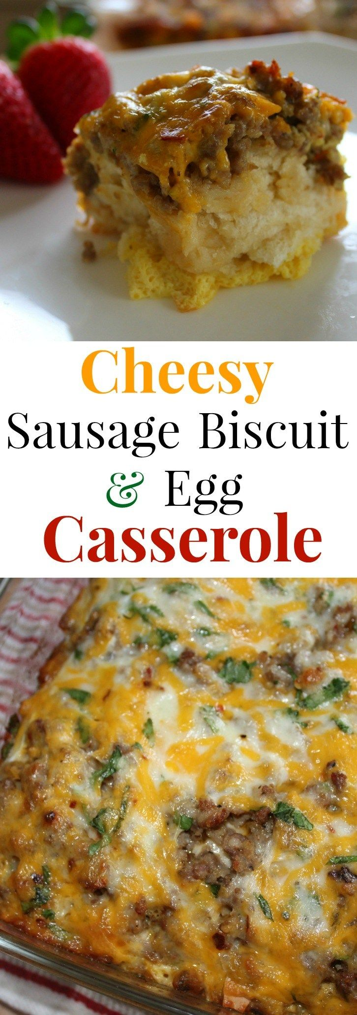This hearty Sausage Biscuit and Egg Breakfast Casserole is a perfect morning or brunch recipe to feed a hungry family. This easy egg bake can be made the night before or put together in 10 minutes.