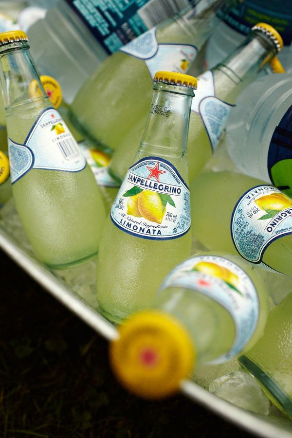 San Pelligrino Limonata.  Cute way to add color to a yellow wedding theme.