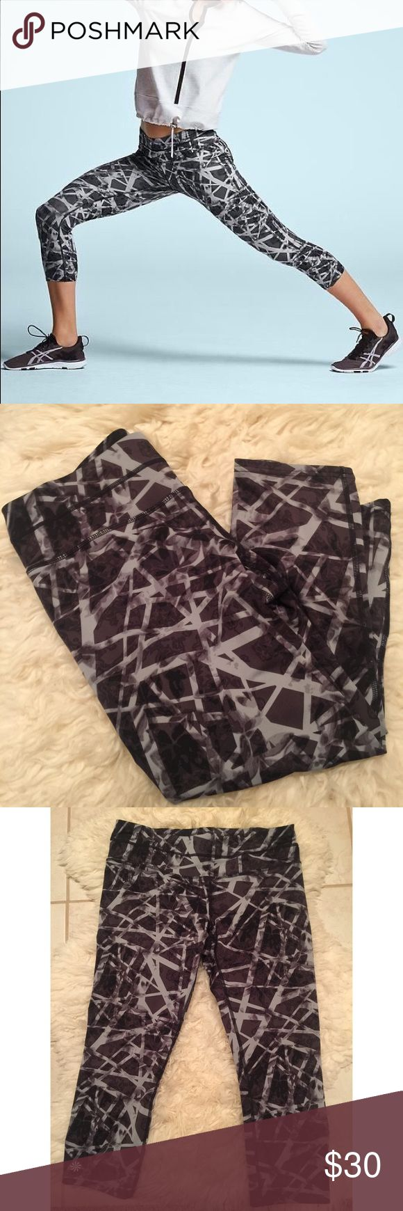 "Athleta Floral Geo Sonar Capri Excellent preworn condition. No rips, no stains, no tears. Perfect condition! Size medium. 19.5"" inseam, 16"" across Capri unstretched. Body: 87% polyester 13% Lycra. Gusset: 100% Polyester Coolmax. Comes with pocket on the back of the right side of the Capri. No trades. Athleta Pants Capris"