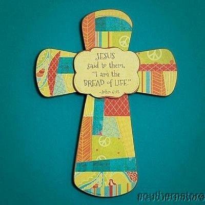 "Decorative Wall Cross 8"" ""Bread of Life"" First Communion Scripture John 6 35 | eBay"