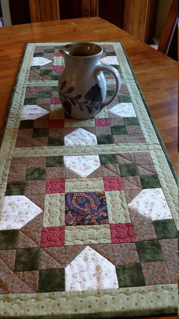 Quilted Table Runner Country Table Runner size 17 x by djwquilts