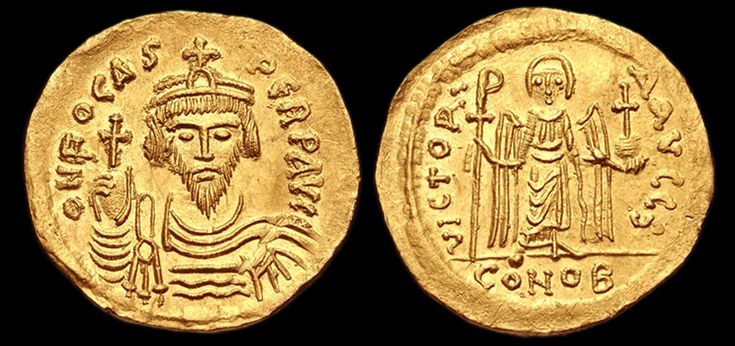 Solidus Phocas  Reigned; 602 to 610 A.D. Measurement; diam. 2.00 mm., wt. 4.46 g.  Materials; gold alloy Constantinople mint; struck 603 to 607 A.D. Obverse; A bust of Phocas wearing a crown, draped cloak, cuirass and holding globus cruciger. Reverse: An Angel holding a staurogram staff and holding globus cruciger. Condition; Very fine Published; D. Sear, et al. Byzantine Coins and Their Values. 2nd Edition, London, 1987, No. 618  Reference; EV1650 COPYRIGHT © Royal Athena