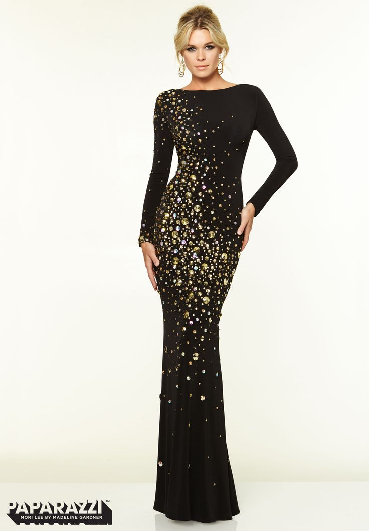 Prom Dresses / Gowns Style 97070: Long Sleeve Backless Studded ...