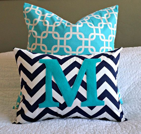 LOVE!!!!!  Navy and turquoise nursery!!!!  Chevron Monogrammed Pillow Cover  Navy and White by nest2impress,