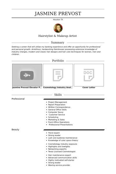 freelance hairstylist & makeup artist Resume example
