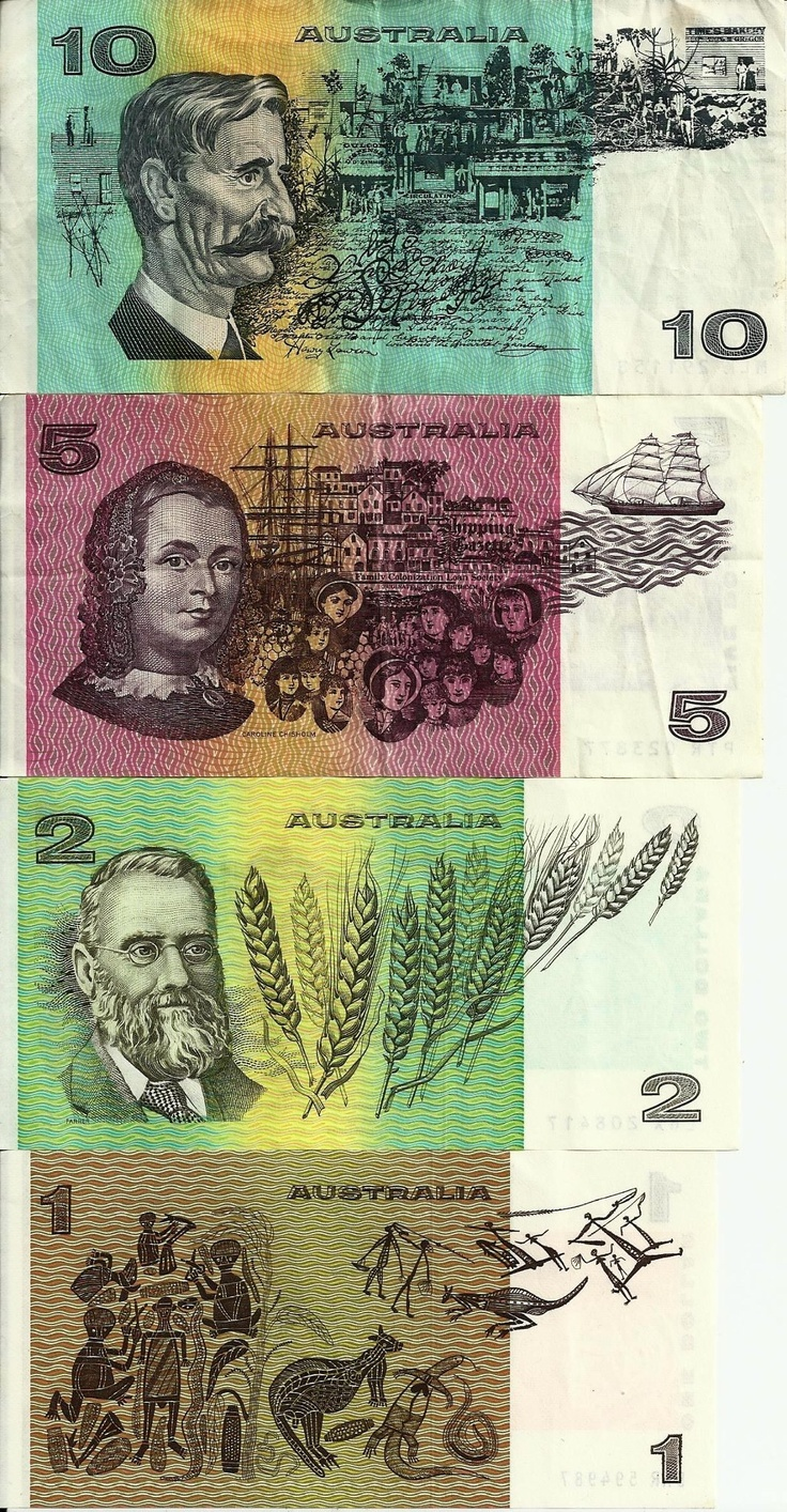 Australian dollars before plastic notes came in.