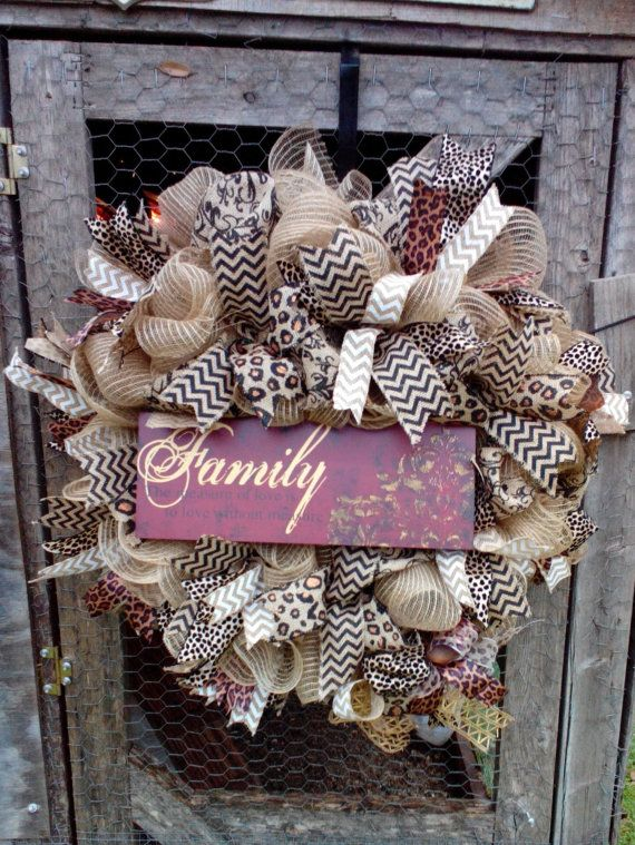 Front Door Wreath Burlap Chevron Wreath Year by VivsCustomWreaths