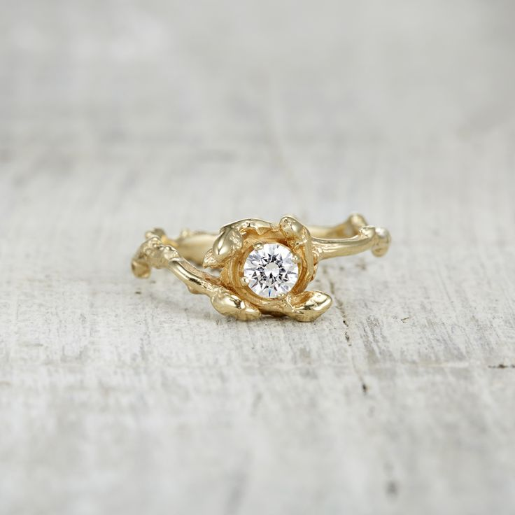 Rustic engagement ring, twig engagement ring, rustic wedding, outdoor wedding, nature inspired engagement ring, nature engagement ring, diamond engagement ring, unique engagement ring, alternative engagement ring by Olivia Ewing Jewelry | There's no better way to show her you love her than with this highly romantic engagement ring from our Verona Collection. She's sure to be madly in love with this whimsical ring from the moment you present it to her.     Featuring a round brilliant cut…
