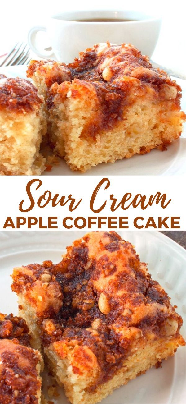 Sour Cream Apple Cake Is Moist With Just The Right Amount Of Topping Perfect With Coffee Or Tea And As Apple Coffee Cakes Sour Cream Sour Cream Coffee Cake