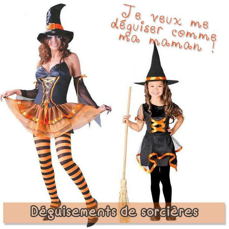 Des déguisements de sorcières aux couleurs d'Halloween (orange et noir) : l'association parfaite pour une chasse aux bonbons réussie, le soir du 31 octobre !
