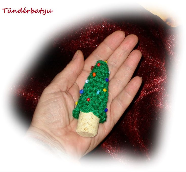 small crocheted pine tree with cork bole