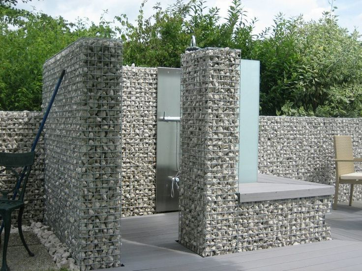outdoor shower with gabion wall - Google Search