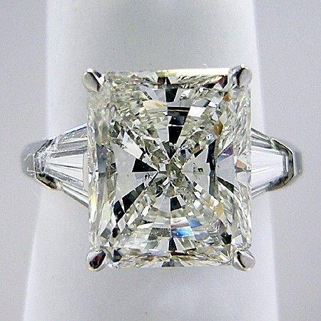 Three Stone Engagement Ring Radiant Cut Center Trapezoid Side Diamonds - Style