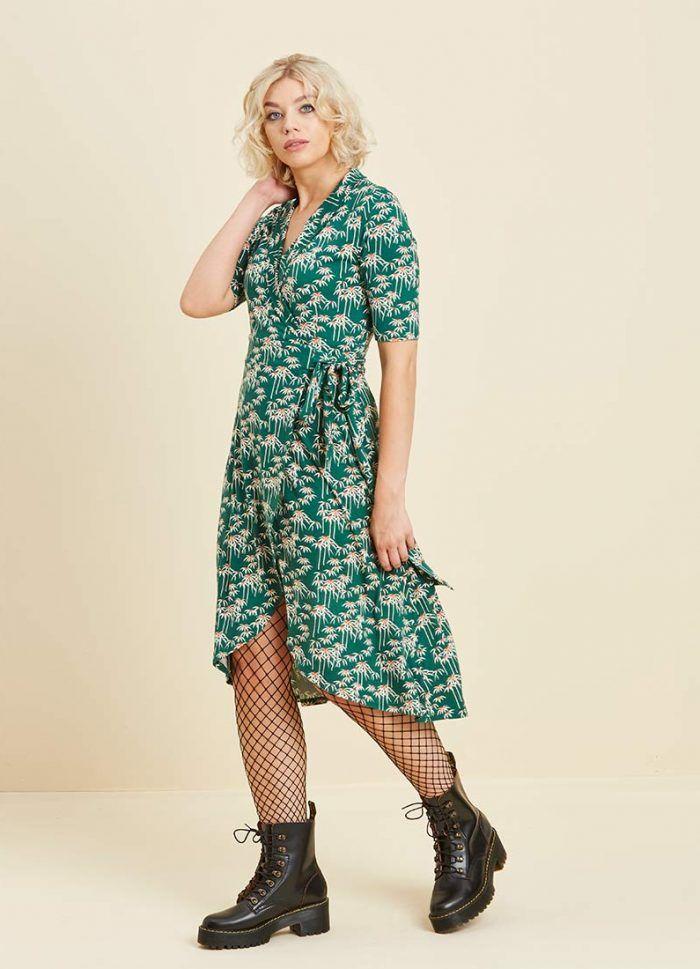 bfc889b1834f7 Lotta Palm Print Wrap Dress in 2019 | Fall/ Autumn Day Wear | Wrap ...