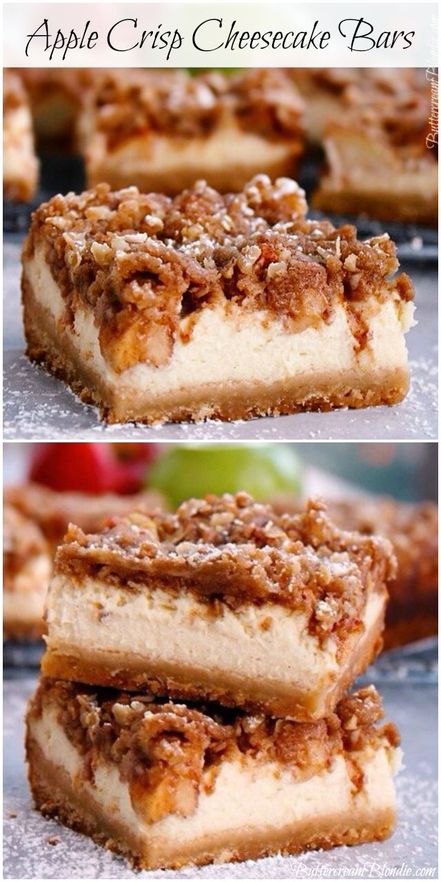 Apple Crisp Cheesecake Bars - brown sugar shortbread, vanilla bean cheesecake, and cinnamon apples all tucked under a blanket of crisp topping! | ButtercreamBlondie.com