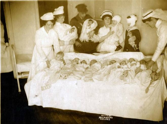 Halifax Explosion Nova Scotia Canada 1917 About 2000 people killed:     Babies whose mothers had not been located and children injured in the Halifax Explosion on Dec. 6, 1917, were cared for in the YMCA temporary hospital. Halifax author Janet Kitz says the photo shows how difficult it was for babies to be identified if their mothers were dead.