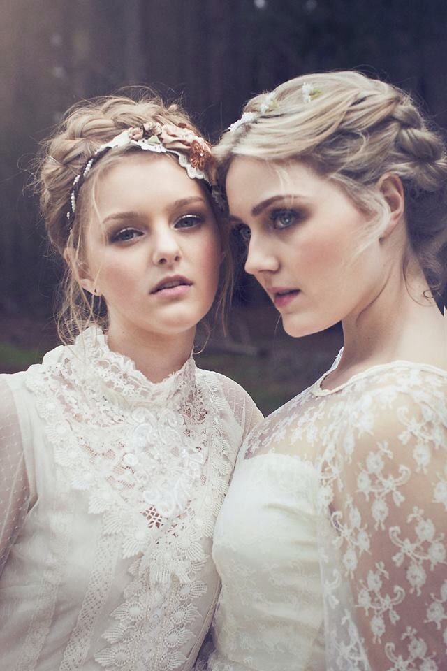 Ethereal Photo Shoot. Kuitpo Forest Adelaide South Australia.  Two Sisters model for a fashion shoot for Tasmanian designer- Sweetness and Light By Heidi Johns of Yak Pic Photography