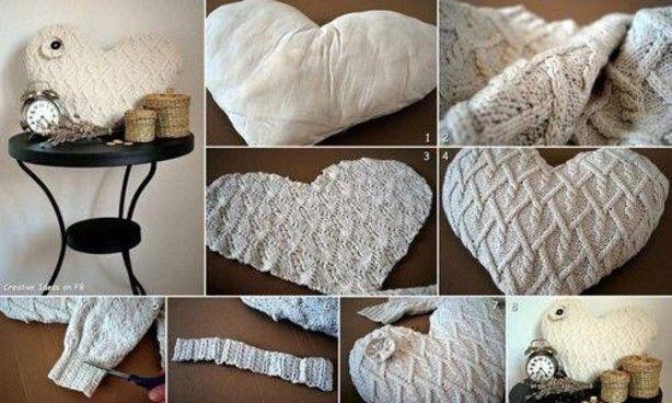 Een kussen maken van een oude trui, leuk!