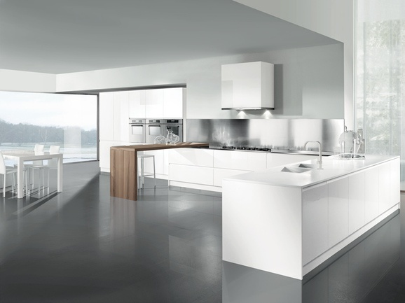 Cucina angolare con penisola colonne e pensili bianchi e particolare tinta noce arredissima - Cucina angolare con penisola ...