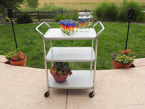 Mid Century COSCO Kitchen Cart Rolling Trolley Cart Serving