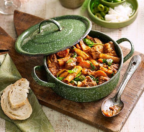 Beef and spinach ragu with rigatoni: Take it slow and give this dish time to develop its beautifully rich flavour – you'll be rewarded.