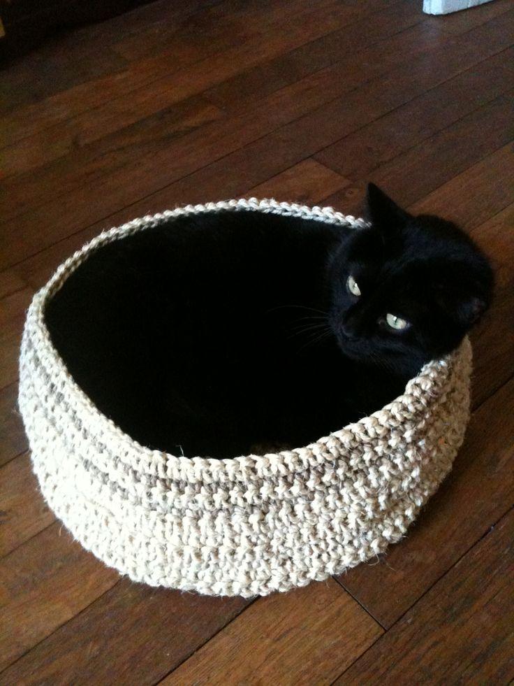Panier pour chat en ficelle #crochet