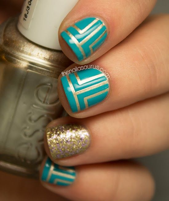 Turquoise and gold  #Nails #Beauty #Fashion