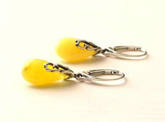 White Amber Earrings Amber Jewelry Natural Amber Gift